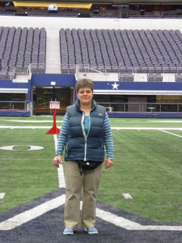 On the star at the Dallas Cowboys