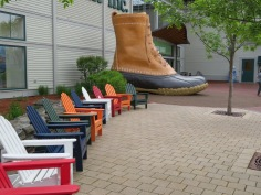 Outside LL Bean & their famous boots