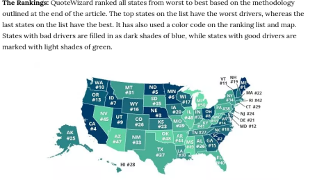 Map of worst drivers by state