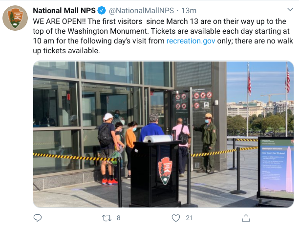 Tweet from National Mall NPS